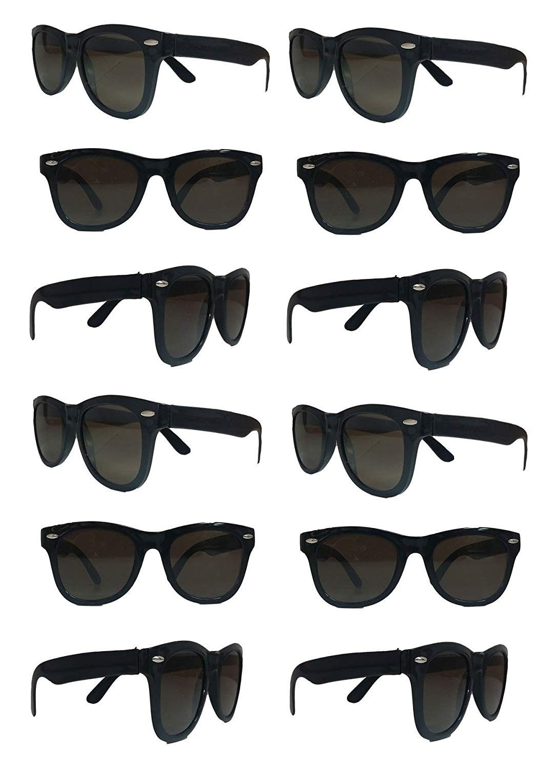 608ebd7c Black Sunglasses Wholesale Party Pack-12 Retro Wayfarer Risky Business-Blues  Brothers Black Sunglasses