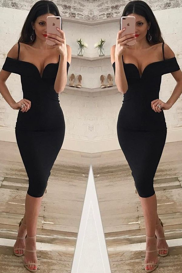 c06dd2f12df Mermaid Spaghetti Straps Knee-Length Cold Shoulder Black Spandex ...