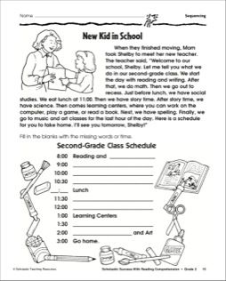 New Kid In School Sequencing Story Events Activity Printables Story Sequencing Worksheets Sequencing Worksheets Story Sequencing Sequencing events worksheet grade 2