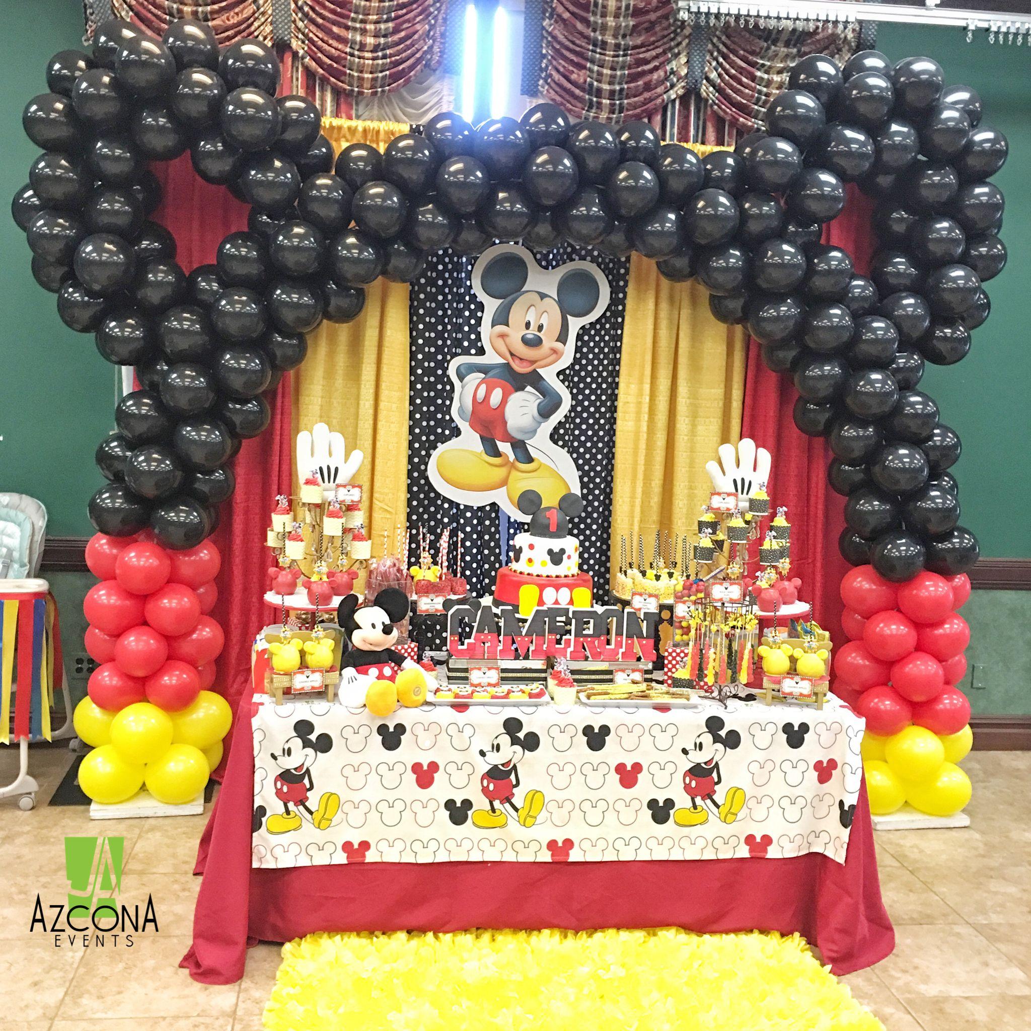 Mickey Themed 1st Birthday By Us Azconaevents Balloons Mickey Mouse Birthday Decorations Mickey Mouse First Birthday Mickey Mouse Party Decorations