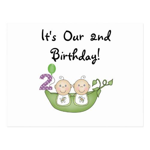 Twin Peas In A Pod 2nd Birthday T Shirts And Gifts Postcard