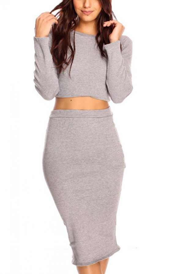 cc15c2137 Light Gray Crop Top Pencil Skirt Knitted 2pc Casual Dress | Psychedelic Monk