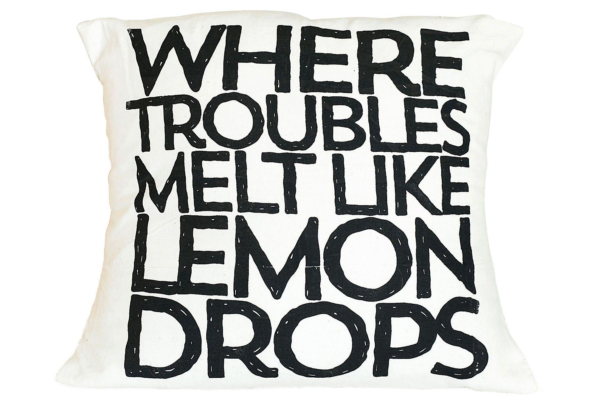 """One Kings Lane - Pillow Talk - """"Lemon Drops"""" 16x16 Pillow, Black"""