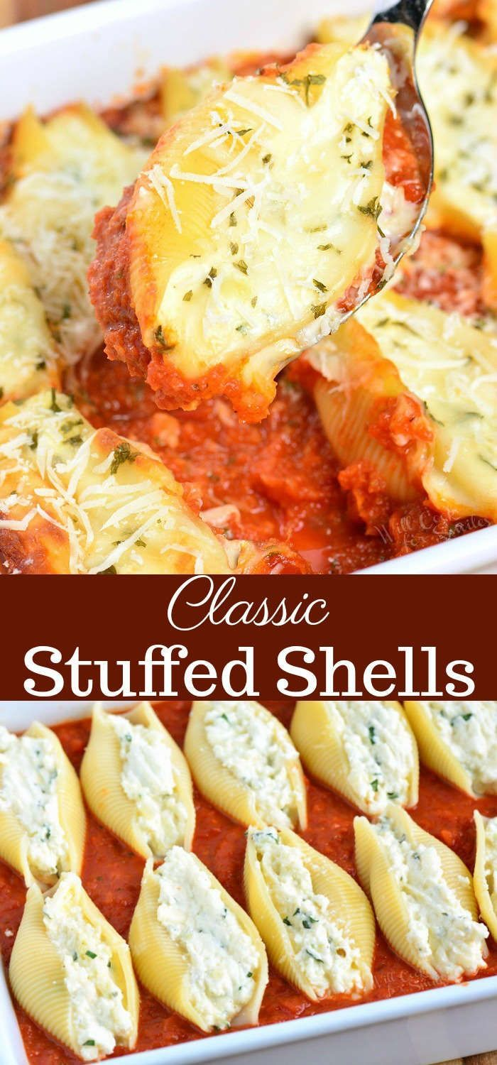 Classic Ricotta Stuffed Shells made with flavorful three cheese ricotta filling and homemade marinara sauce. This stuffed shells recipe is extra cheesy and made with fresh herbs and garlic flavors. #pasta #stuffedshells #meatless #ricotta #cheesepizza