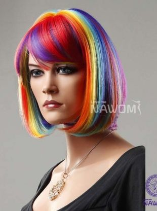 hot bob wigs with bangs high quality wigs for women rainbow celebrity wigs halloween wig