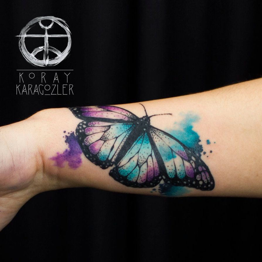 d7ffbf07229c4 #watercolor #tattoo #butterfly Colorful Butterfly Tattoo, Butterfly Tattoos,  Realistic Butterfly Tattoo
