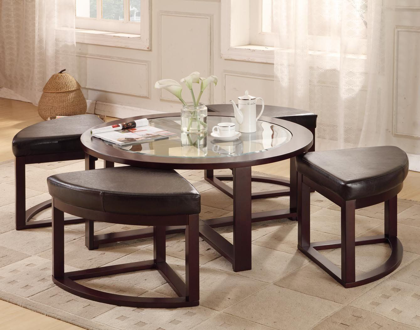 40 round coffee table with 4 wedge stools espresso