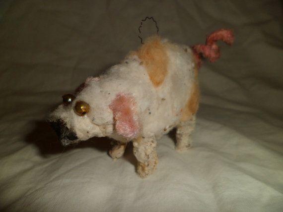 Rare German Spun Cotton Pig Christmas Decoration Spun cotton - christmas lawn decorations sale
