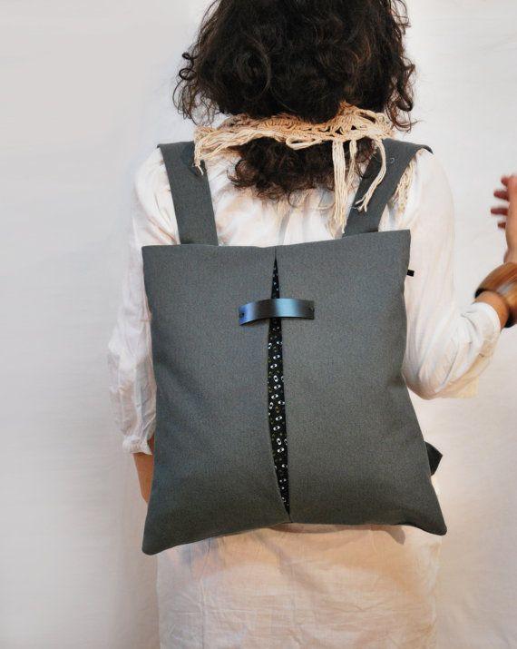 Stilvolle Rucksack & Messenger Tasche dunkel von misirlouHandmade