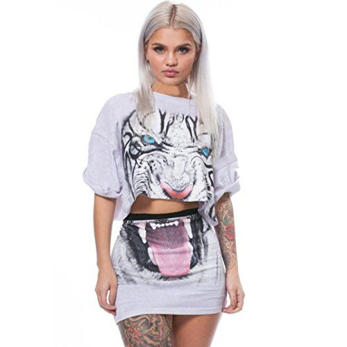 Women Tiger Print Split 2 Piece Set Casual Skirt Casual Outfit Sportswear iYYVV