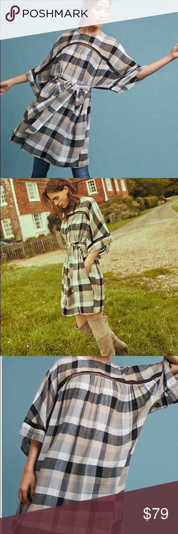 50464afc0556 Maeve Tie- Waist Kimono Tunic Dress size M NWT beautiful from Anthropologie.  Pair this beautiful plaid tunic dress with over the knee boots or with your  ...