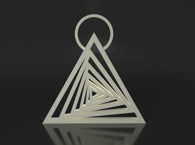 Spiraling Triangle Pendant via Shapeways.com