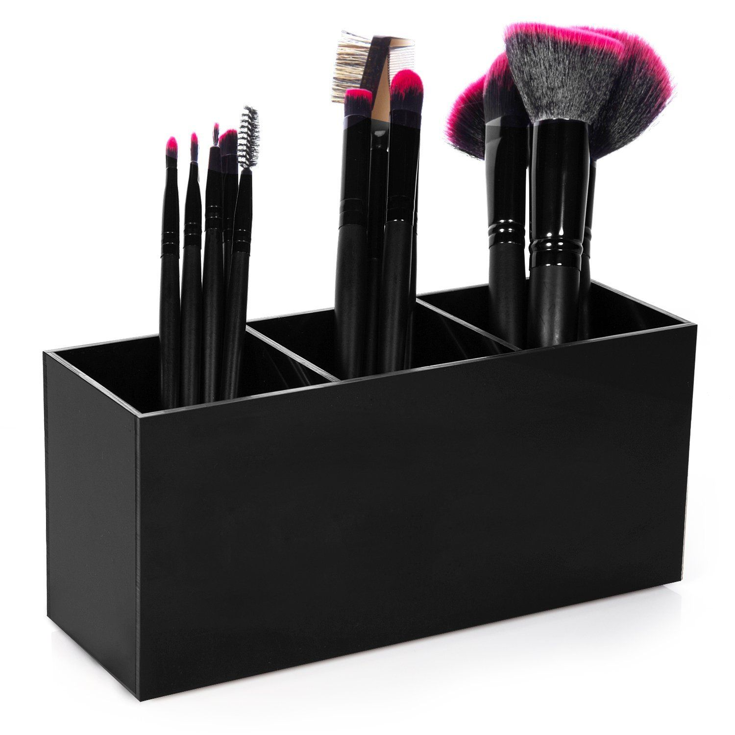 Hblife Makeup Brush Holder Organizer, 3 Slot Acrylic Cosmetics Brushes