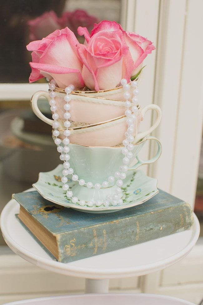 Mint and Pink Vintage Tea Party - Pretty My Party - Party Ideas