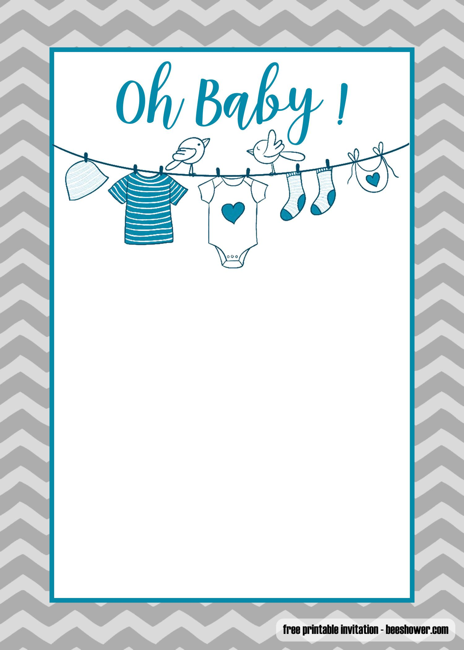 FREE Printable Onesie Baby Shower Invitations Templates  Onesie