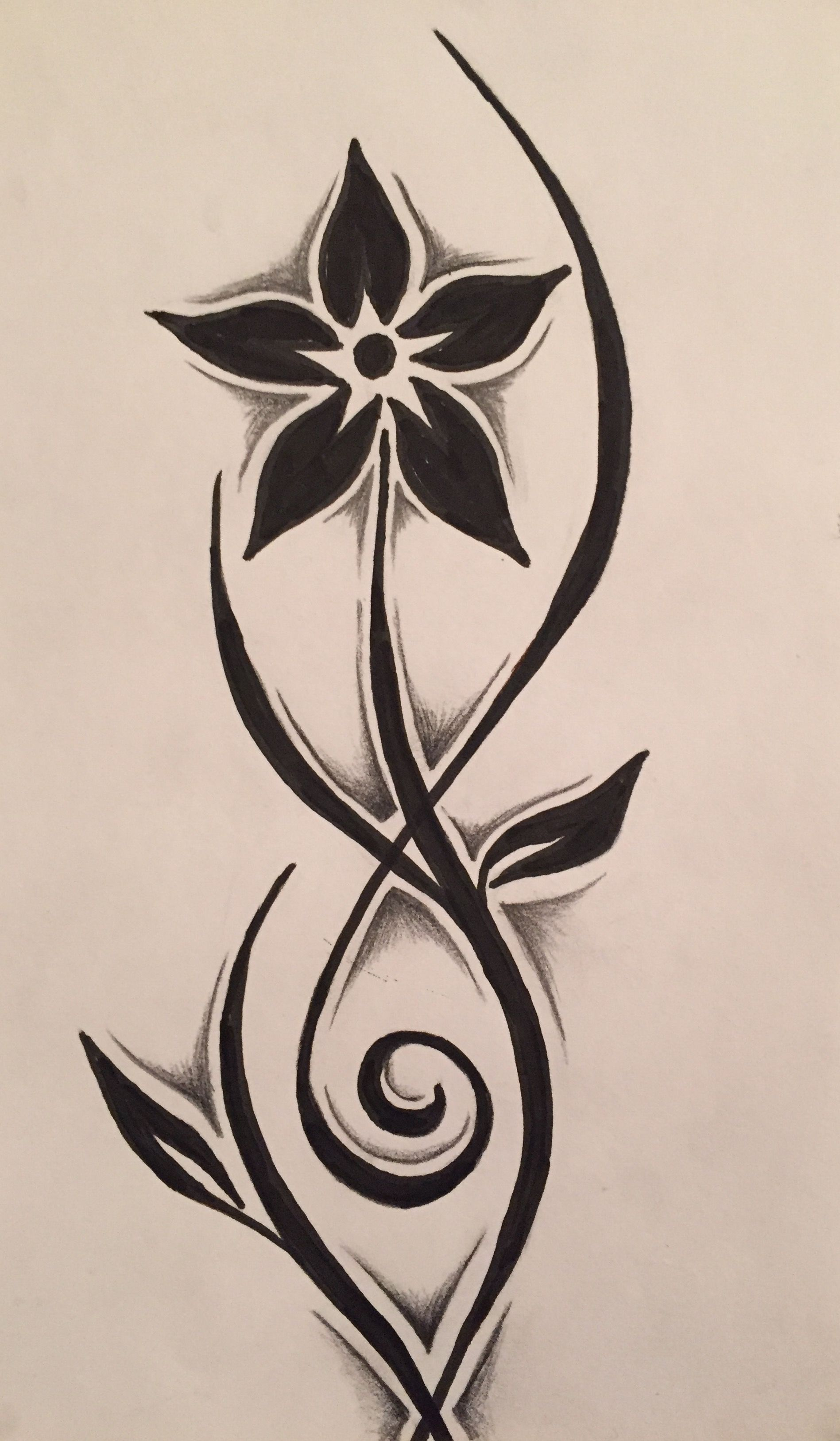 149d2adc245ca Tribal flower drawing - followed YouTube tutorial | Feel the Burn in ...