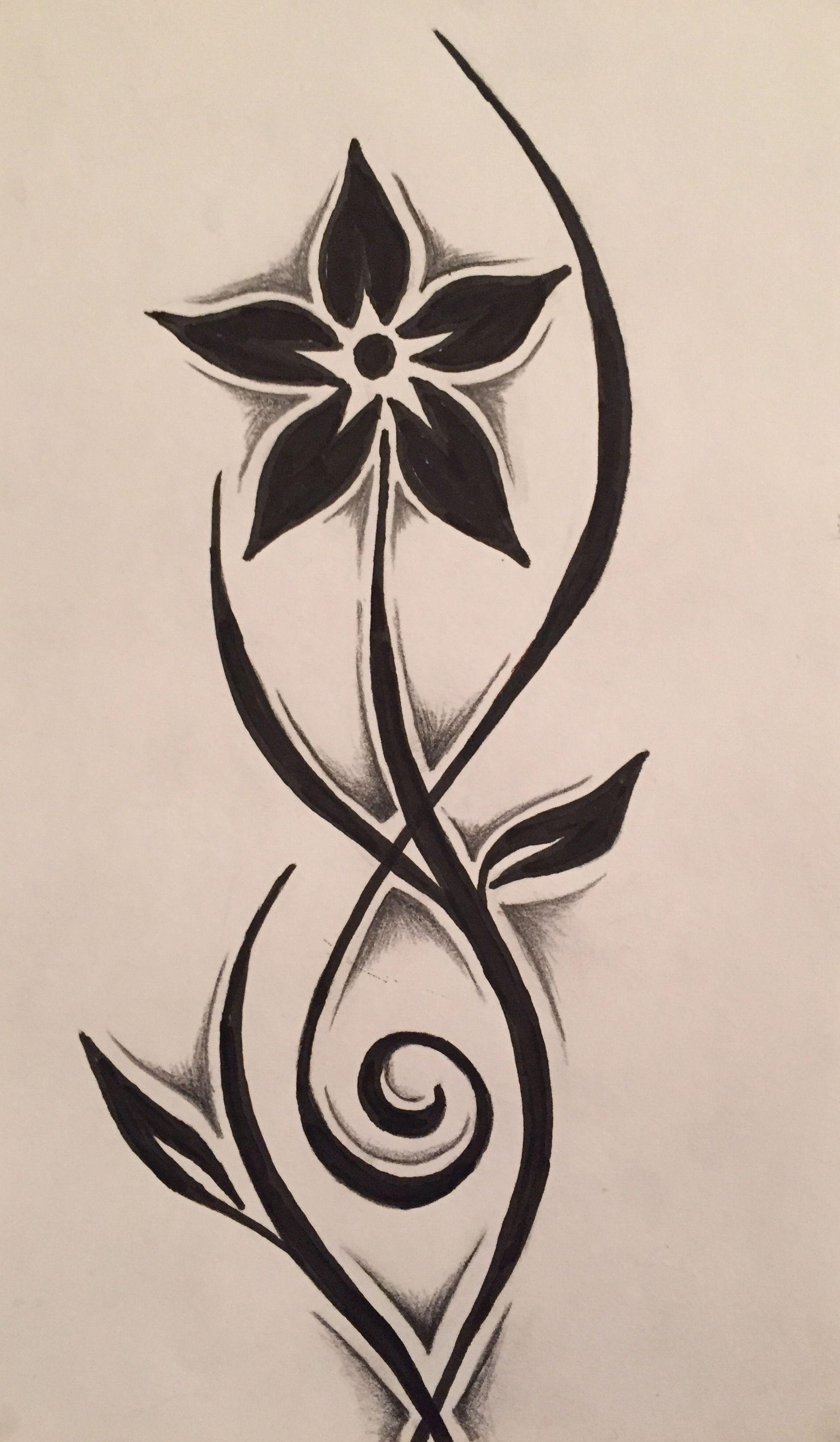 0390a42f2 Tribal flower drawing - followed YouTube tutorial Tribal Henna, Tribal Art,  Tribal Tattoos,
