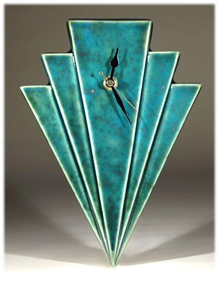 The Manhattan Wall Clock By Echo Of Deco British Art Pottery Turquoise Art Deco Art Deco Clock Art Deco