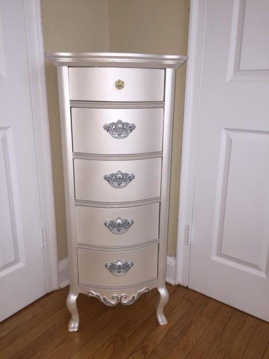 handpainted furniture metallic painted lingerie chest paintme rh pinterest com