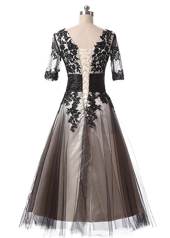 33e6d39691762 Buy discount In Stock Elegant Tulle Scoop Neckline A-Line Tea-length Prom  Dresses With Lace Appliques at Dressilyme.com