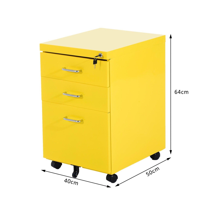 HOMCOM 3 Drawer Metal Filing Cabinet Office Storage Furniture Organiser  Holder Lockable (Yellow) AosomUK