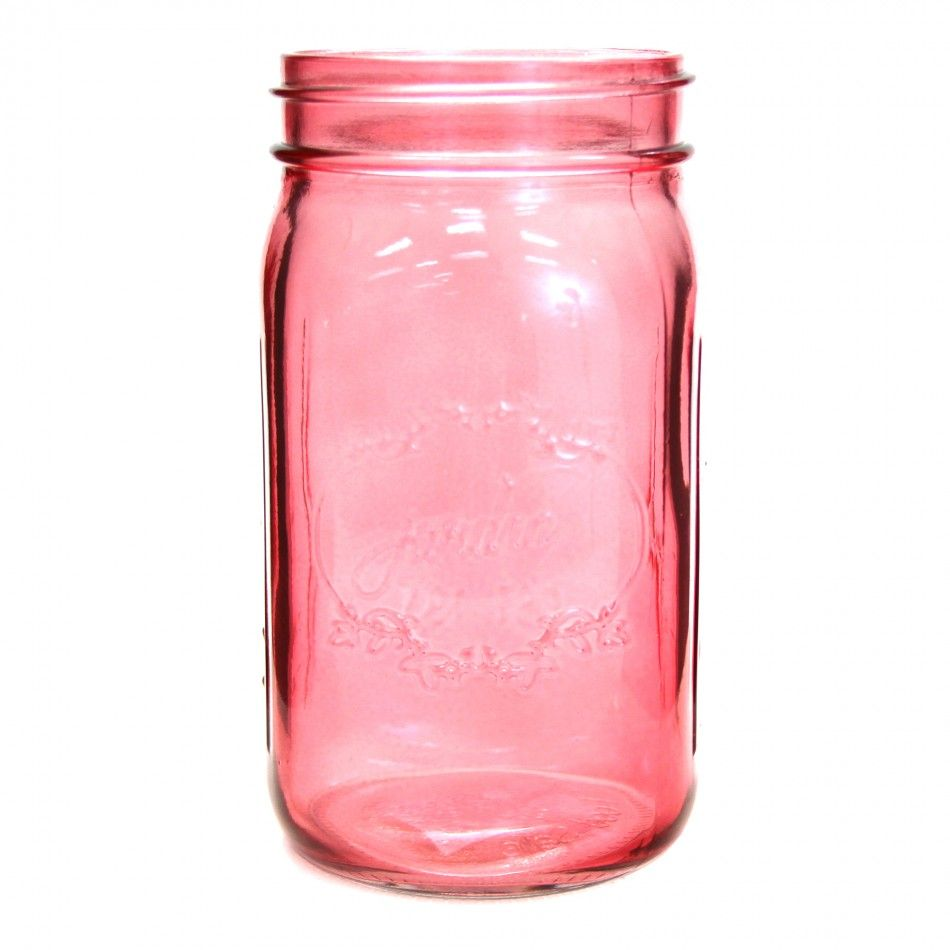 24 oz Colored Mason Jars - Pink [24 oz Pink Vintage Mason Jars] :
