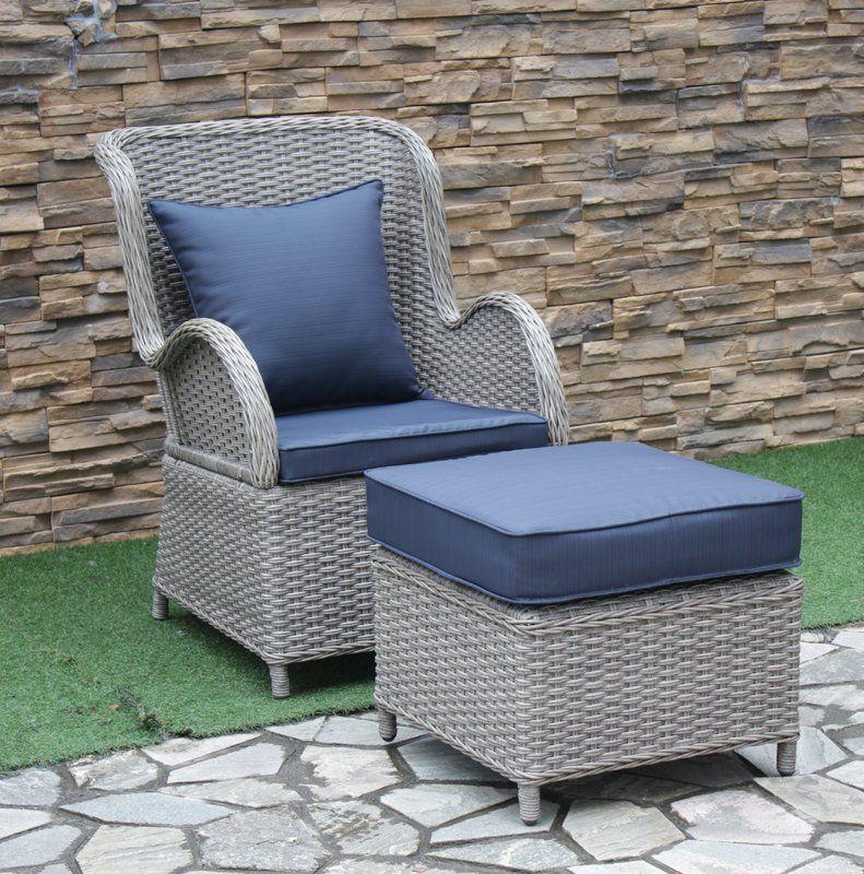 Silke Patio Chair With Cushion With Ottoman Patio Chairs Chair