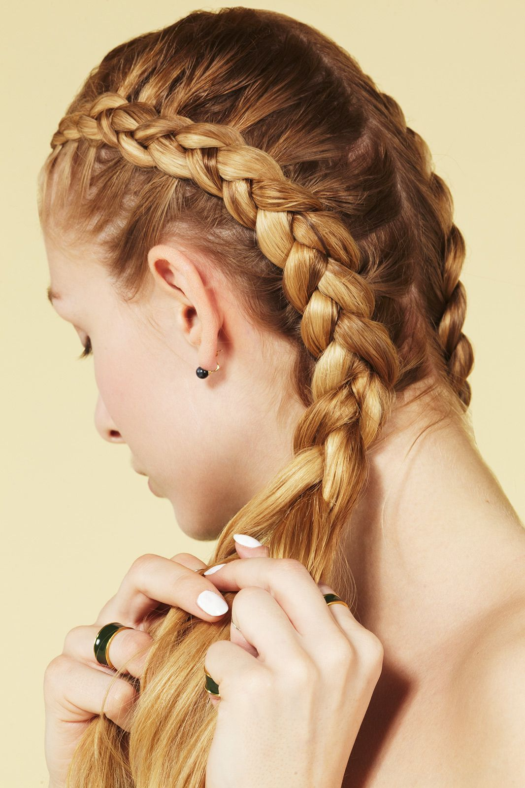 5 Braids You HAVEN'T Seen Yet #refinery29 http://www.refinery29.com/five-different-braided-hairstyles#slide-8 With hair still damp, create a center part that goes all the way down the back of your head. (If you're worried about your style staying tight, add some gel, like TRESemmé Ultra Firm Control Tres Gel, to damp strands first.) Then, beginning at your hairline, start a three-strand braid, pulling in more hair as you go. Only add hair from the side closest to your middle part, and bring…