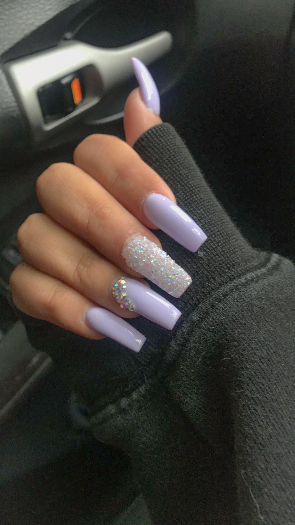 Long Lilac Acrylic Nails By Nailsbykat On Ig Lilacnails In 2020 Lilac Nails Purple Acrylic Nails Lavender Nails