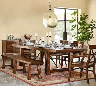 Benchwright Extending Rectangular Dining Table 86 X 42 Alfresco Brown Finish Dining Furniture Kitchen Tables Pottery Barn Kitchen Dining Table With Bench Dining Table Dining Room Table