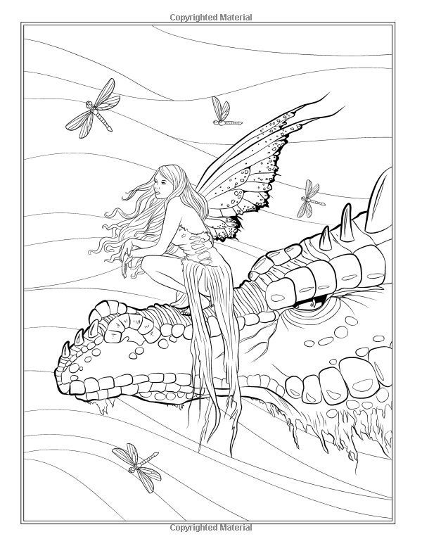 Fairy companions coloring book fairy romance dragons for Dragon and fairy coloring pages