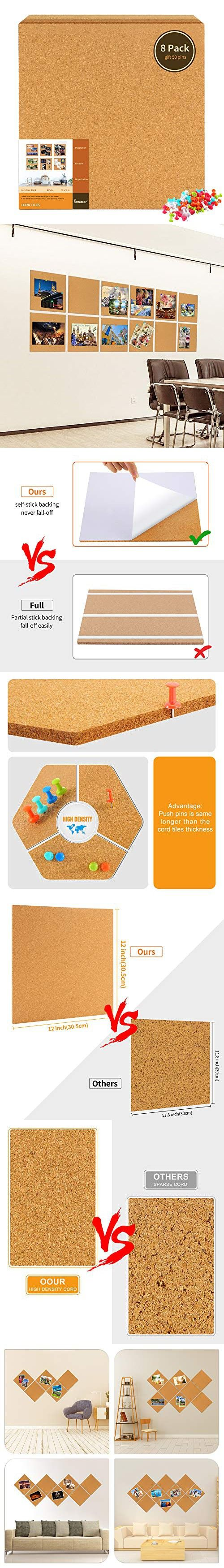 Famistar 12 X 12 Square Cork Board Tiles 8 Pack With Full Sticky Back Mini Wall Bulletin Boards Pin Board Decoration For Pictures Photos Notes Goals Cork Board Tiles Cork Board Board Decoration