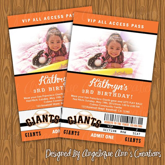 Jessie Lockhart Cute Idea For Landon San Francisco Giants Ticket Style Birthday Party