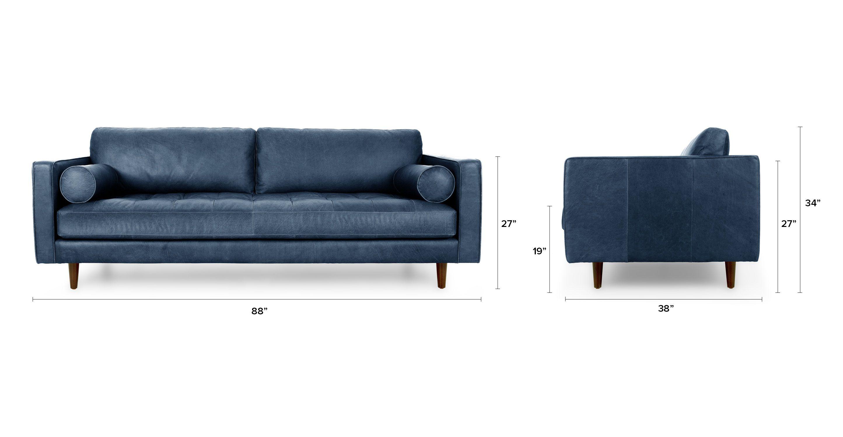 Blue Leather Tufted Sofa - Upholstered   Article Sven Modern ...