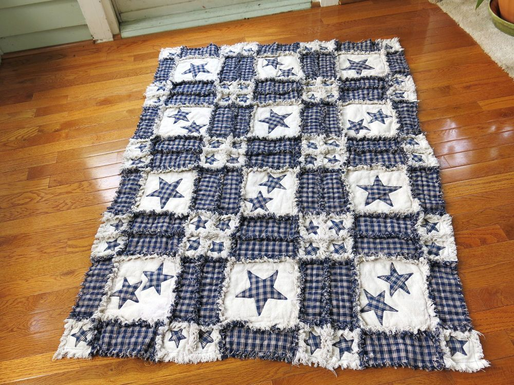 PATRIOTIC PRIMITIVE RAG QUILT THROW (68) HOMEMADE STAR APPLIQUES 44x58 inches
