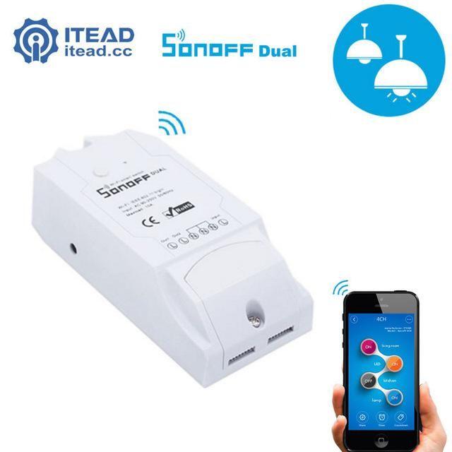 Itead Sonoff Dual 2CH Wifi Smart Switch Wireless Remote Control
