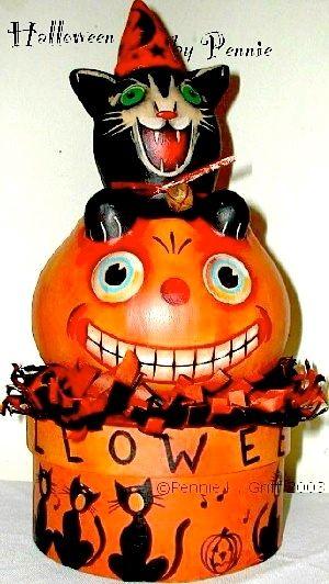 Handpainted gourd Halloween decor Art of the Black Cat Pinterest