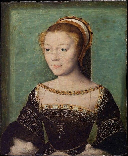 Corneille de Lyon (attribued), Anne de Pisseleu (1508–1576), Duchesse d'Étampes, 1535