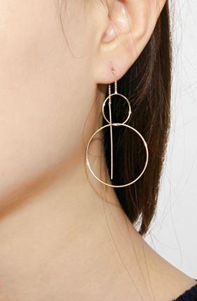 Long Color Teardrop Threader 925 Silver Pull Through Earrings Gift