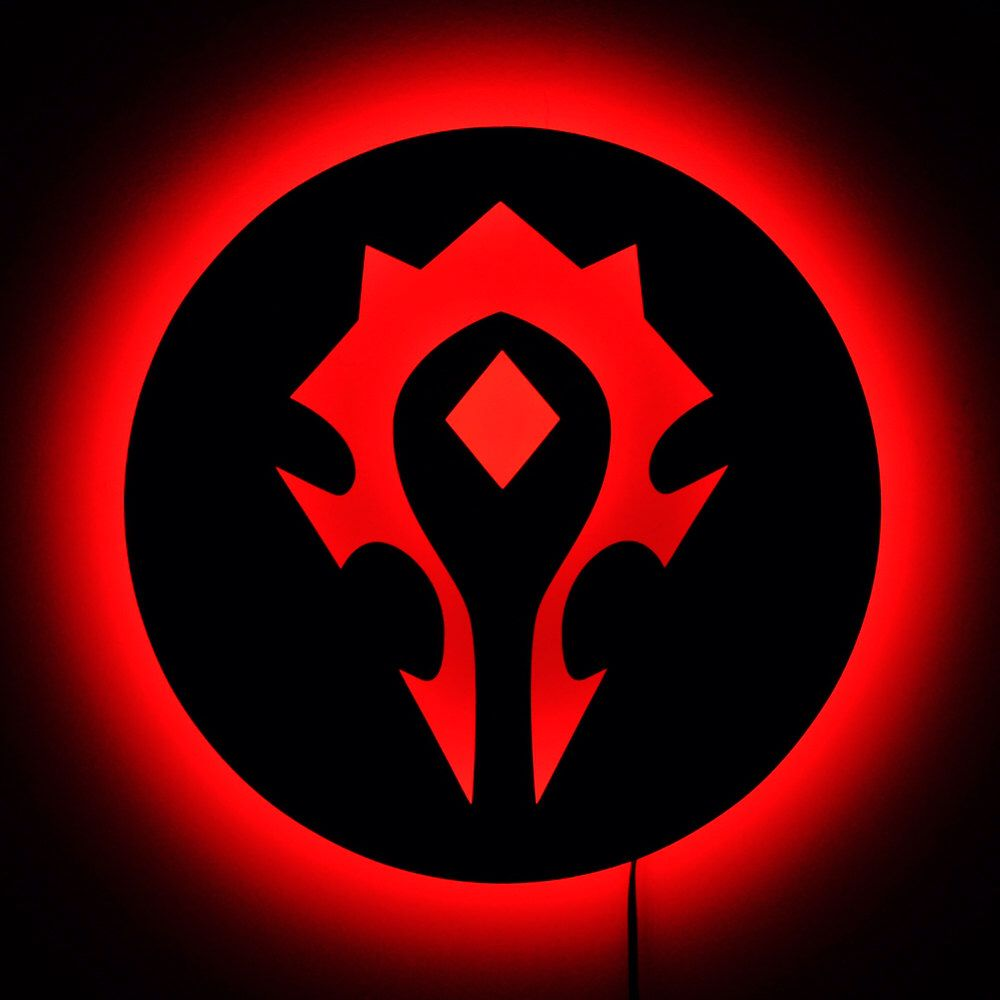 Lighted Wow Horde Logo World Of Warcraft Gamer Wall Art Led