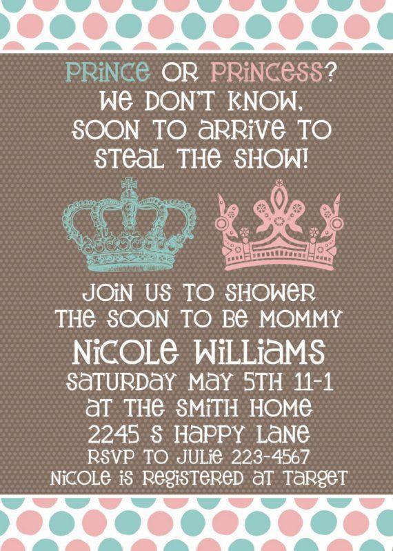 Baby Shower Invitation Neutral Gender Unknown Shower Prince Or Prin Gender Neutral Baby Shower Invitations Baby Shower Invites Neutral Unisex Baby Shower