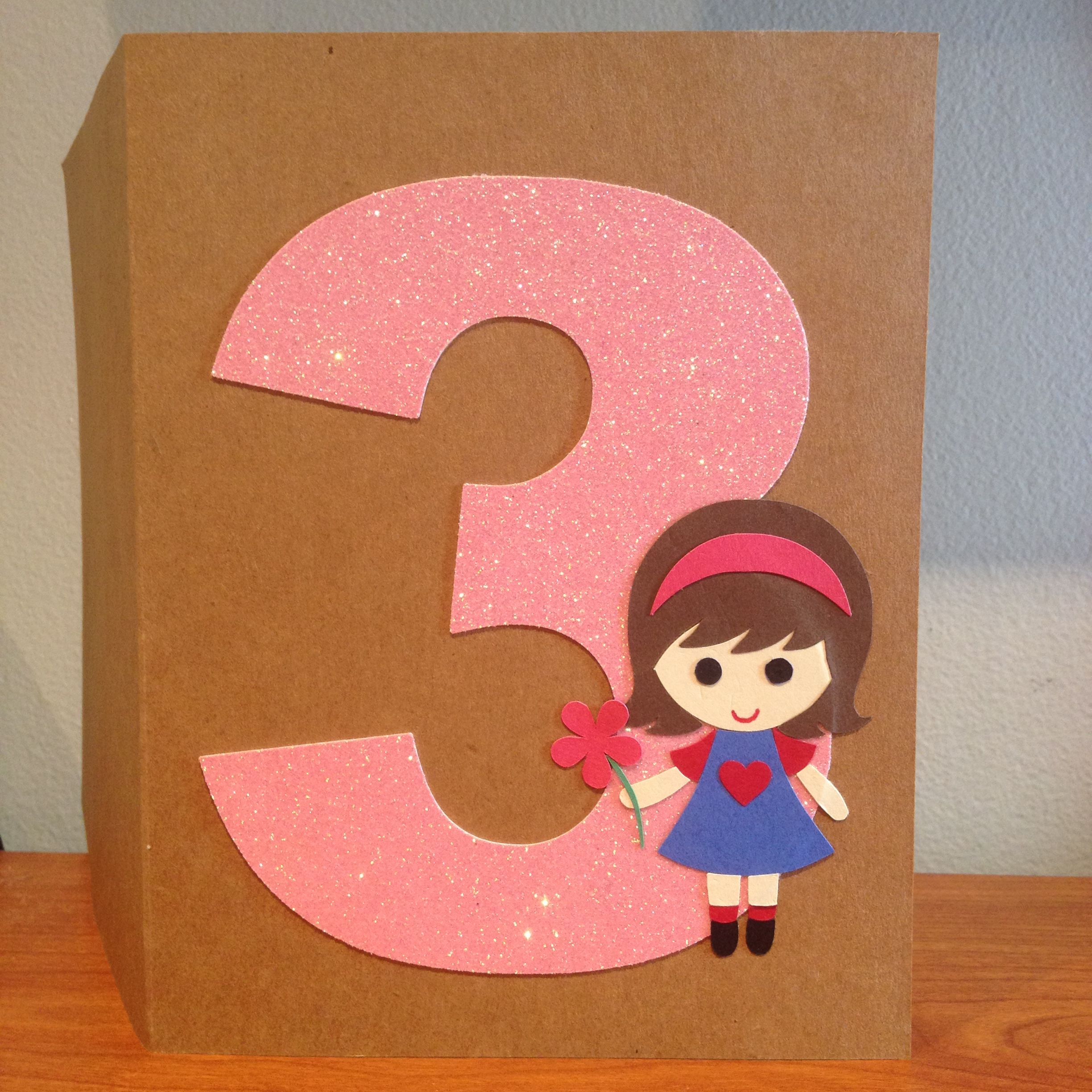 Custom Made Birthday Card For A Special 3 Years Old Girl