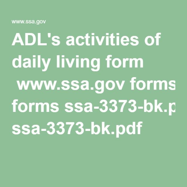 AdlS Activities Of Daily Living Form WwwSsaGov Forms Ssa