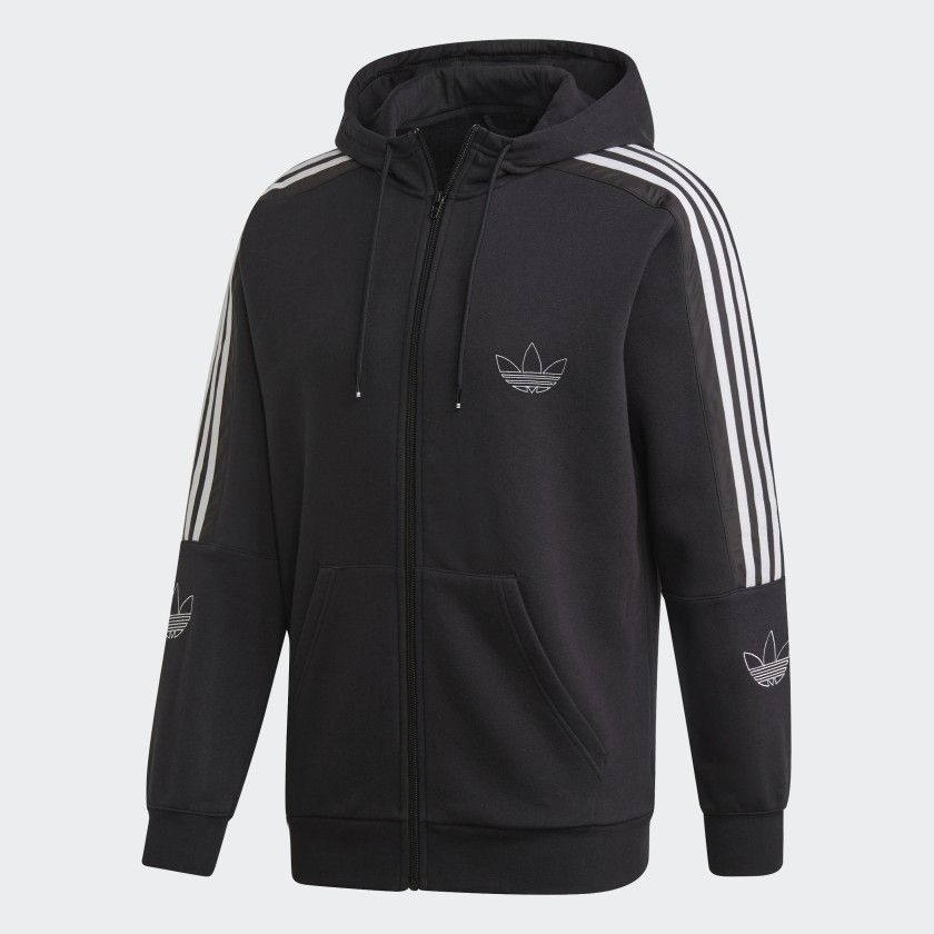Adidas Outline Hoodie Black Adidas Us Black Hoodie Men Black Hoodie Black Adidas