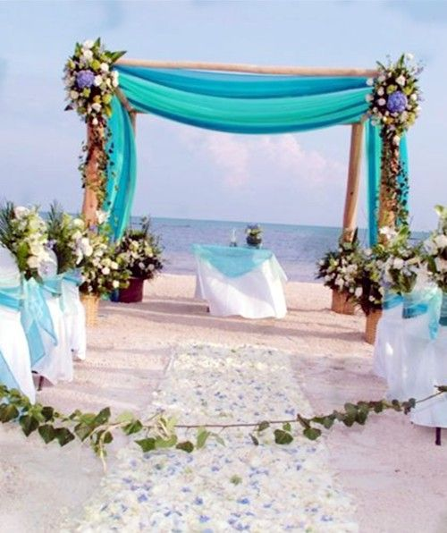 Free Wedding Ideas: Green Leaves Banner Beach Wedding Decor Idea, White Petals