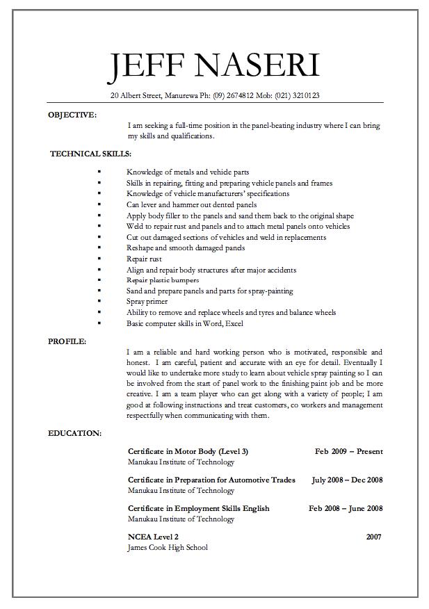 Panel Beater Jobs Resume Free Resume Sample Job Resume Resume Template Examples Sample Resume Templates