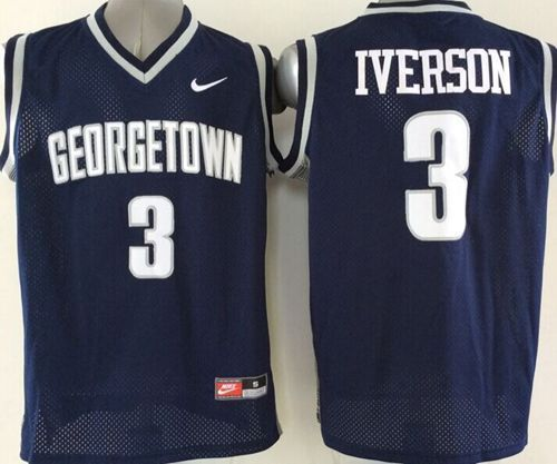 4cce18ce05b1 Hoyas  3 Allen Iverson Navy Blue Basketball Stitched NCAA Jersey ...
