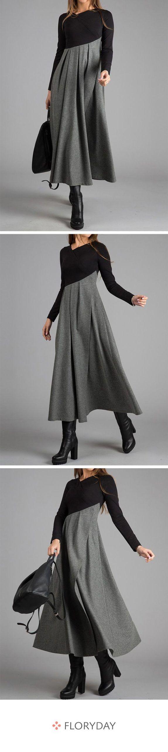 mittellange kleider in a-linie mit langen Ärmeln | fashion