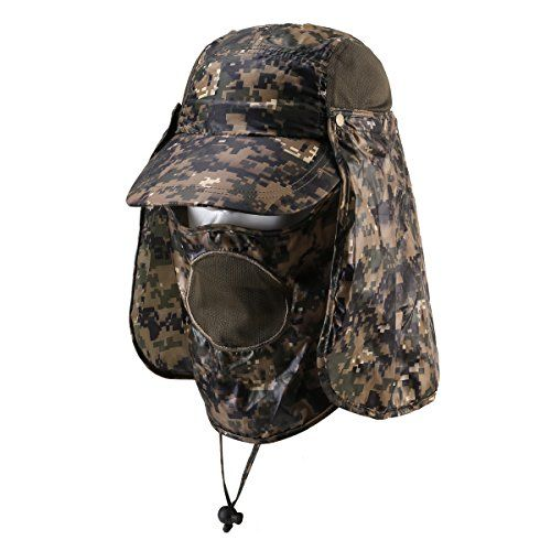 7704dfe22fb Hunting- Outdoor Fishing Hiking Hunting Amy Camo Hat with Side Mesh Cap  with Neck Flap