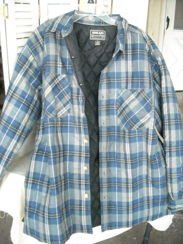 Men s Highland Outfitters Flannel Heavyweight Quilted Flannel Shirt-XL EUC  Plaid  HighlandOutfitters  ButtonFront 7f9c4f6ae